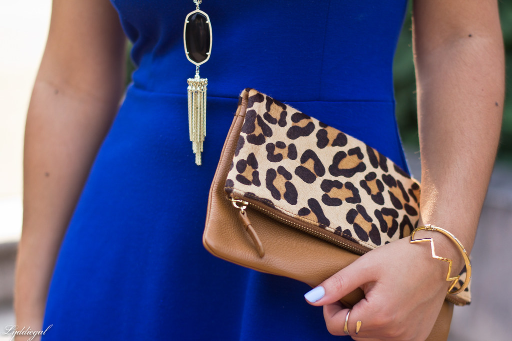 cobalt dress, leopard pumps and clutch-6.jpg