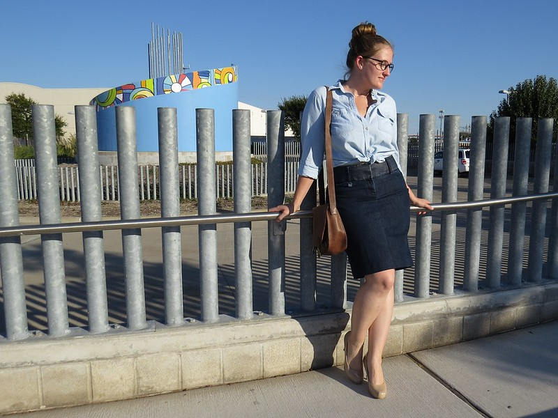 Denim Pencil Skirt - After