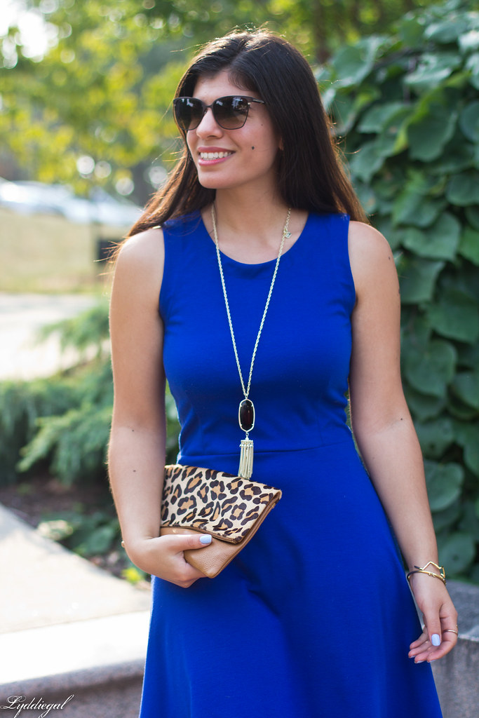 cobalt dress, leopard pumps and clutch-3.jpg