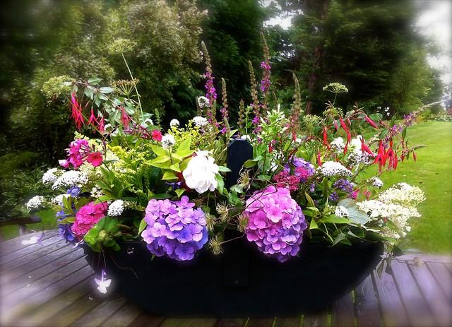 Plukkist met tuinbloemen