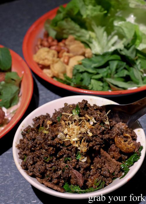 Larb kua Northern Thai style DIY sang choy bao with pork, liver and intestine at Chung Tang, Chatswood