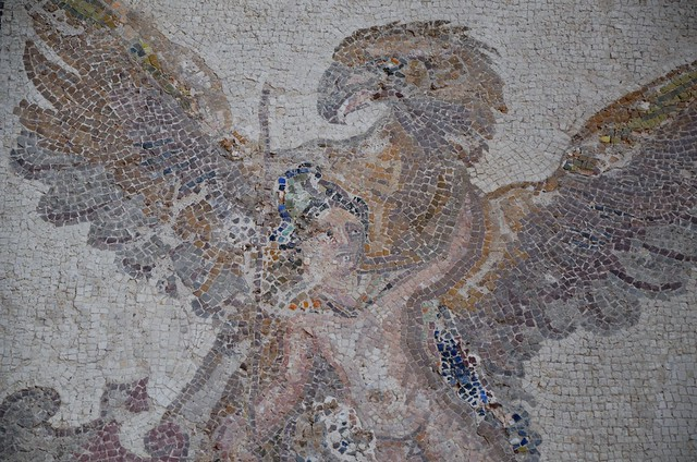 The Rape of Ganymede mosaic, House of Dionysus, the god Zeus having transformed into an eagle carries Ganymede away, late 2nd / early 3rd century AD, Paphos Archaeological Park, Cyprus