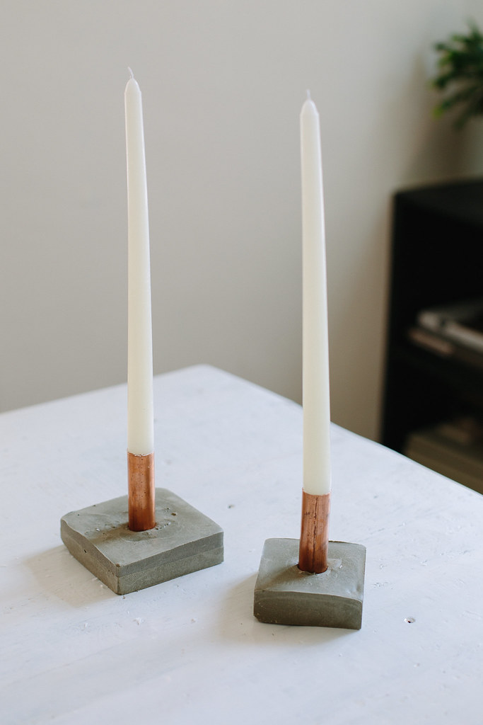 diy copper and concrete candle holders a pair a spare
