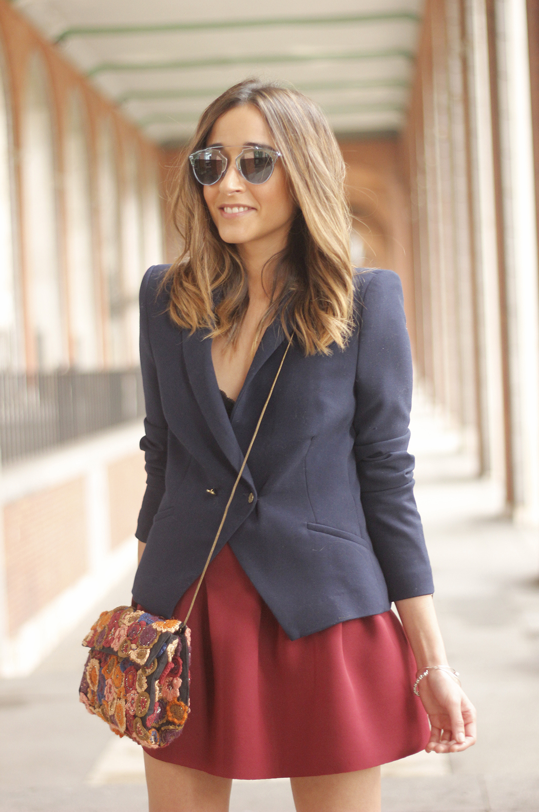 Blue Blazer Burgundy Skirt Outfit10