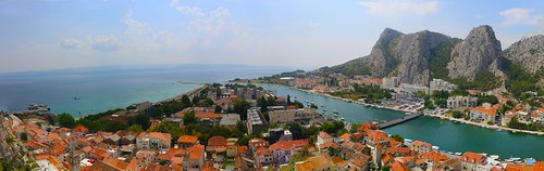 street old city travel roof sea summer people panorama mountain color building tree rock digital port canon eos boat town high nice colorful ship view hill croatia calm fortress cetina omis 70d