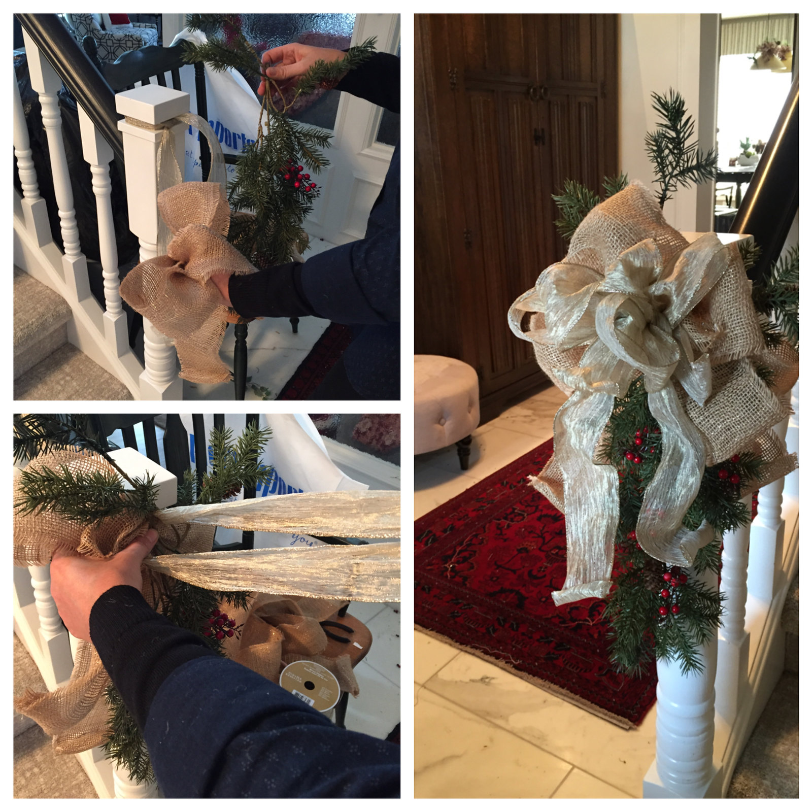 handcrafting a christmas bow for post of a stairway