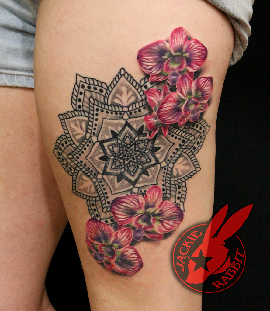 Mandala orchid realistic flower tattoo by jackie rabbit a photo on mandala orchid realistic flower tattoo by jackie rabbit izmirmasajfo