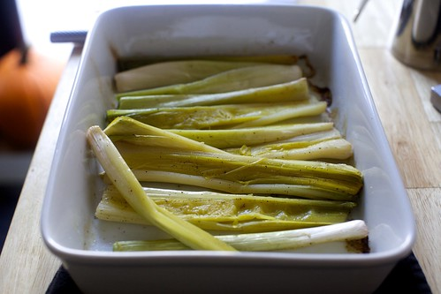 roasted leeks, could be roasted longer