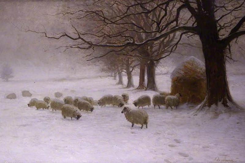 Sheep in a Snowstorm by Joseph Farquharson, 1893