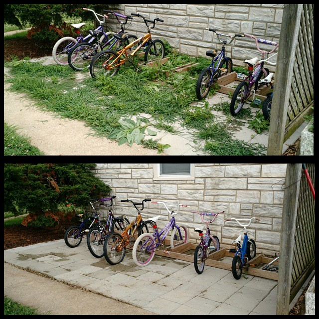 Our bike area turned into a jungle while we were gone! Five kids, one adult and about a half hour later = much better! #summerweeding @lee_robertson80