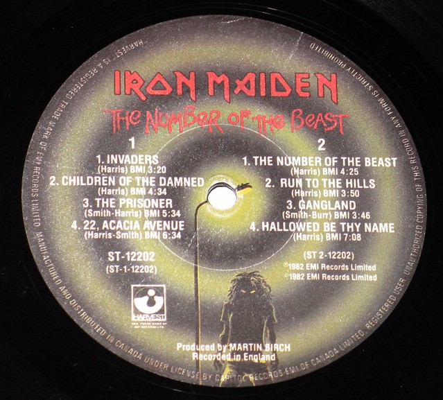 "IRON MAIDEN The Number of the Beast Canada 12"" Vinyl LP"