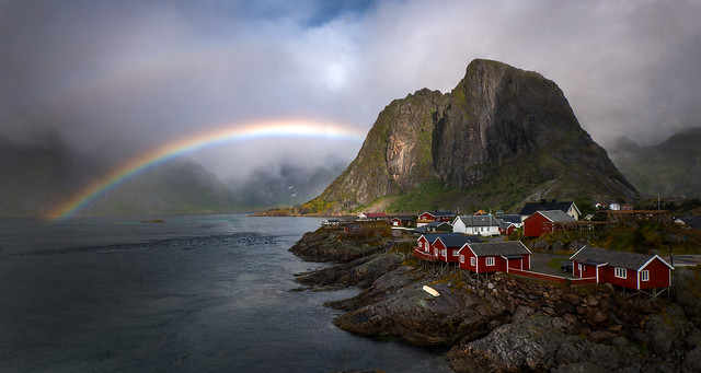 Postcard from Norway ( (Explored) not photoshopped. Rainbow is real)