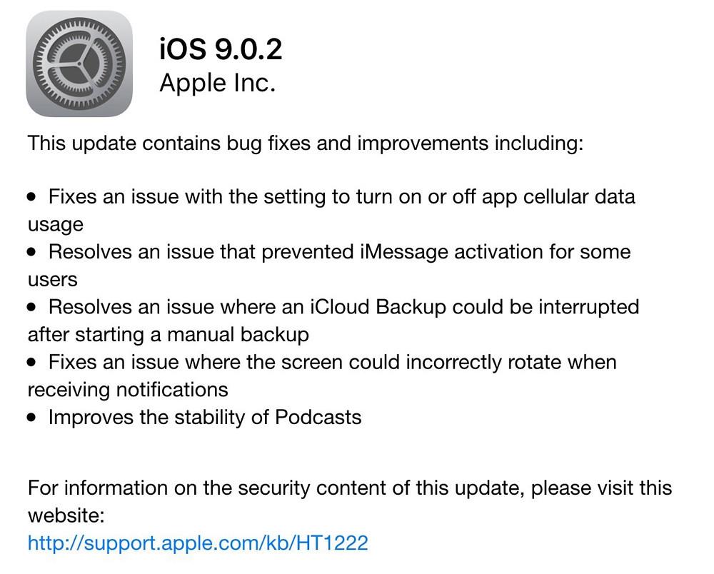 iOS 9.0.2