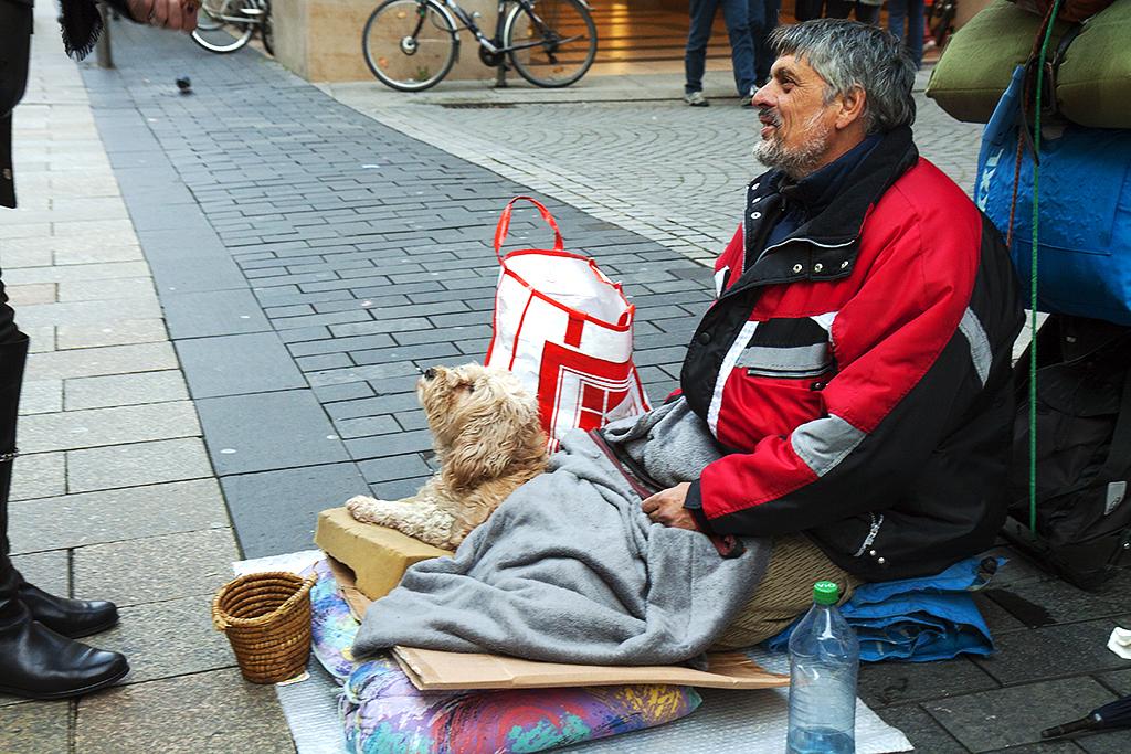 Eastern European beggar on 10-17-15--Leipzig
