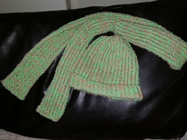 Finished loom knit scarf to match the hat. Oct. 18, 2015