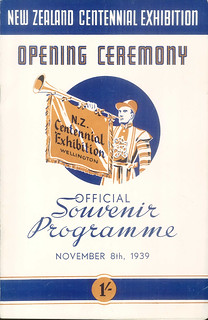 New Zealand Centennial Exhibition Opening Ceremony Programme ( 8 November 1939)