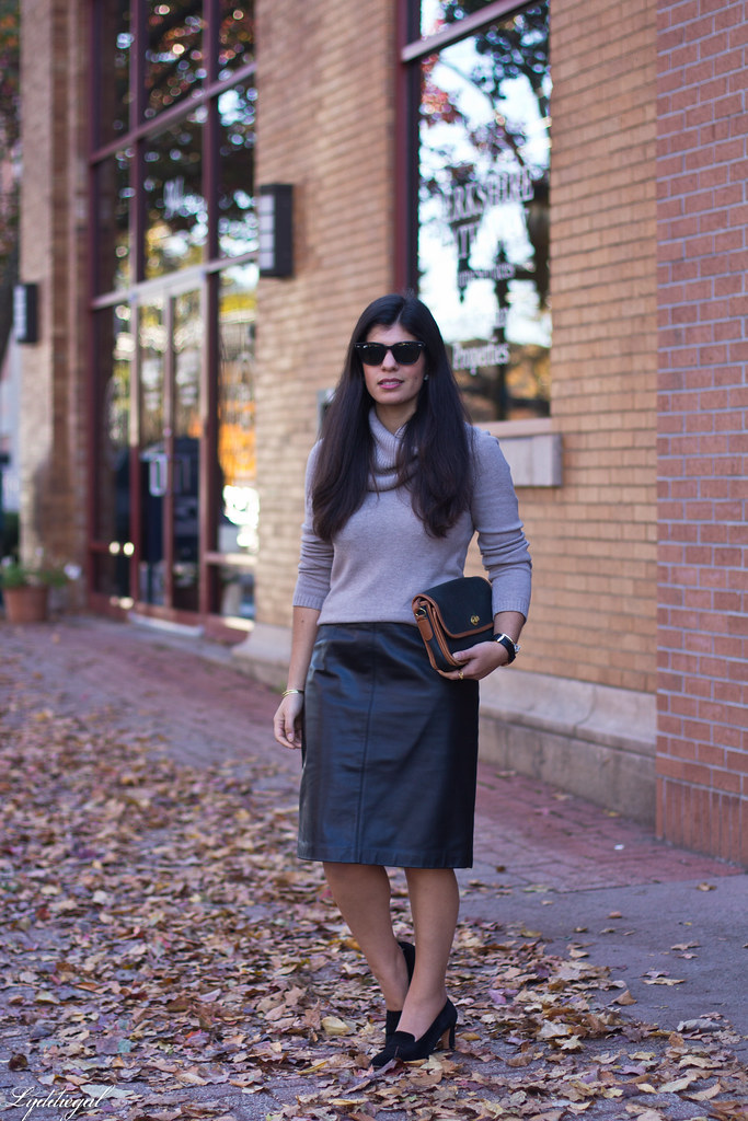cowl neck sweater, leather pencil skirt, black heels.jpg