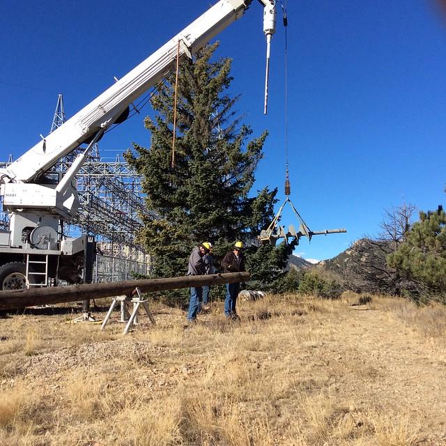 Preparing to install osprey nest platform