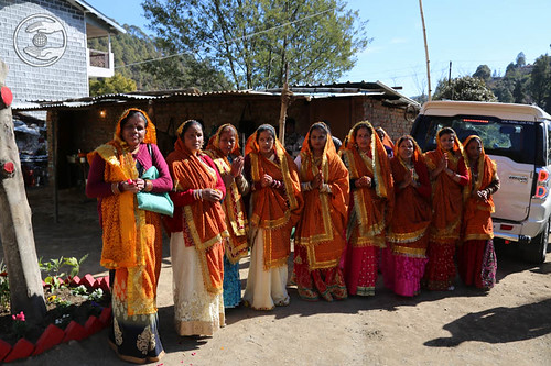 Devotees in traditional costume