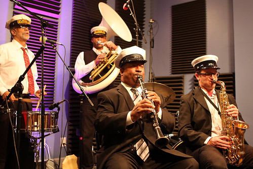 The Eureka Brass Band: Frank Oxley, Kerry Lewis, Louis Ford, James Evans. Photo by Bill Sasser