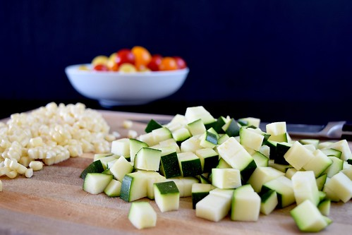 chopped zucchini and corn