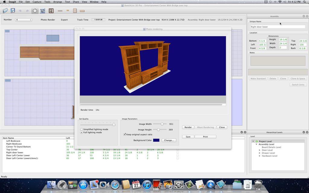 Sketchlist 3d 4 woodworking design software for Woodshop layout software