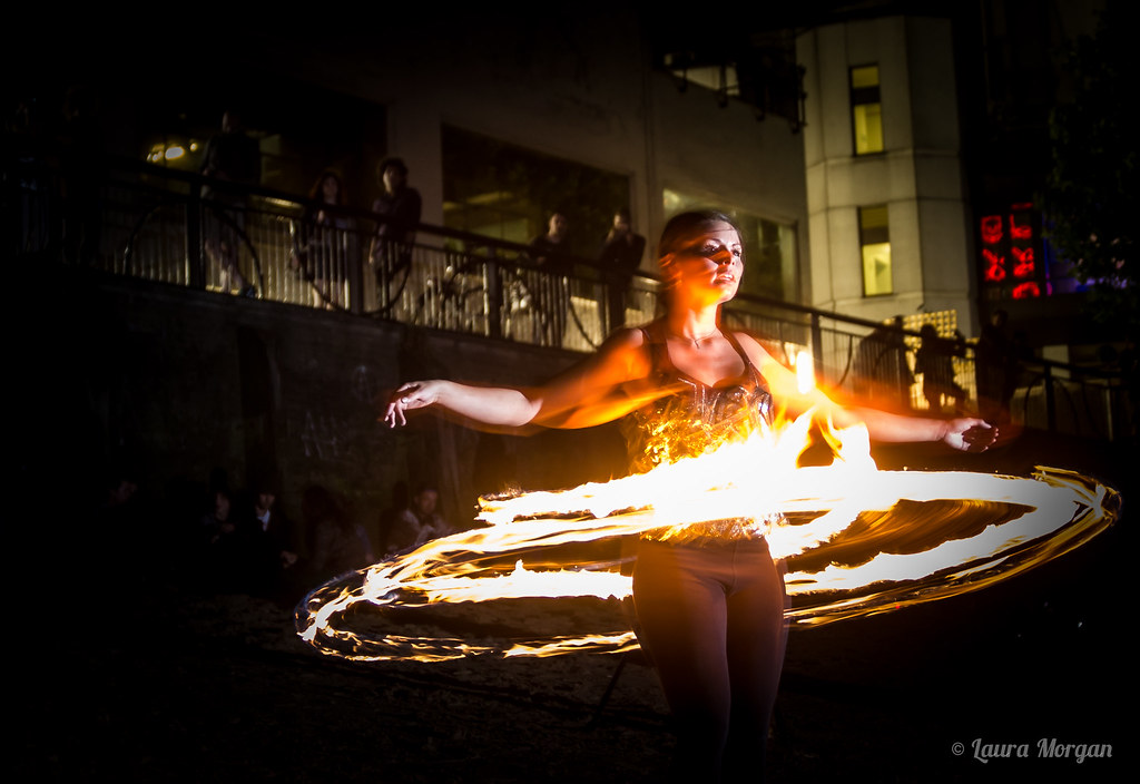 A fire spinner at London's Full Moon Fire Spin