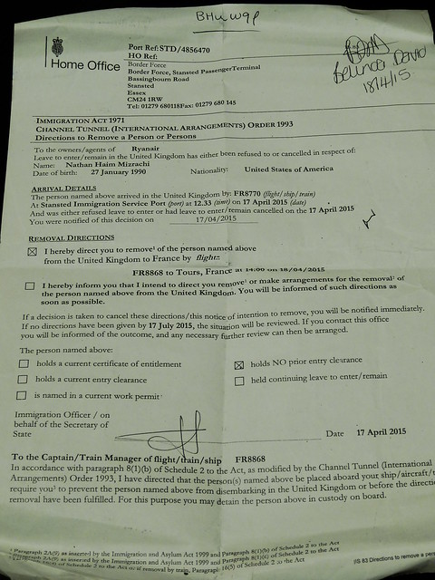 My official deportation form