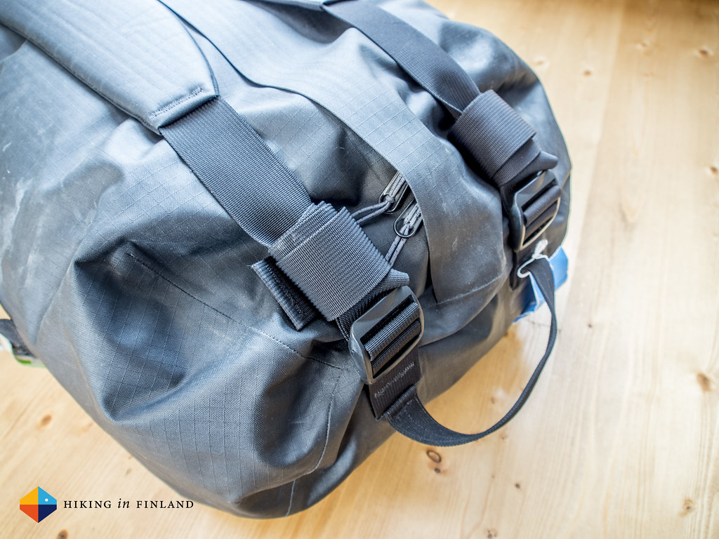 Arc'teryx Carrier Duffle 50 with the straps packed away cleanly