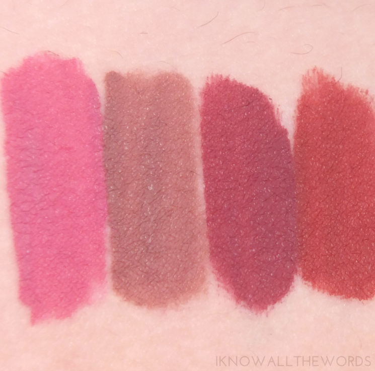 LA Splash swatches Rose Garden, Ghoulish, Lovegood Lovestruck, and Nymph-Adora Nymphaea