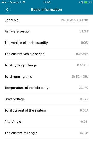 Interface iPhone du gyroroue