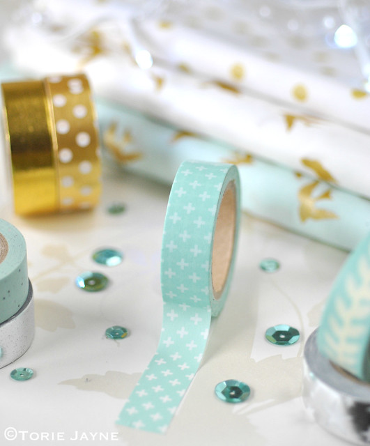 White Crosses on Mint Green Washi Tape 1