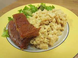 Creamy Cashew Mac and Cheese; BBQ Dry Rub Seitan Ribs