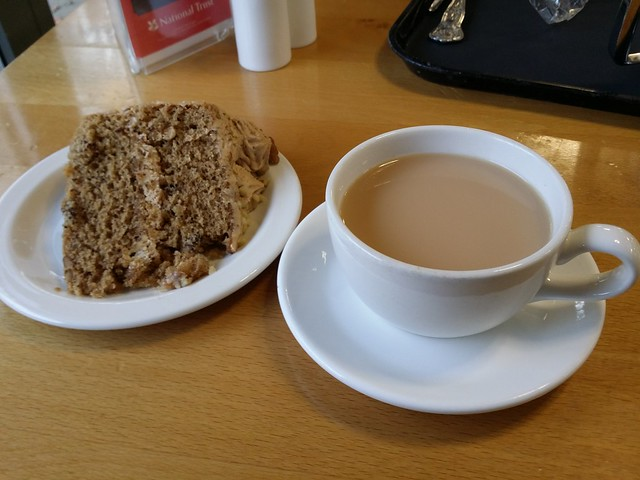 Coffee and Walnut Cake, with a cuppa at Castle Drogo cafe