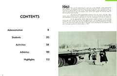 1961 AHS Spirit yearbook inside page 4 table of contents plus page 5 classmates in snow w 1961 summary text