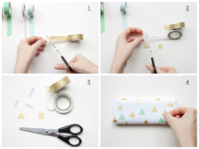 diy washi tape gift wrap