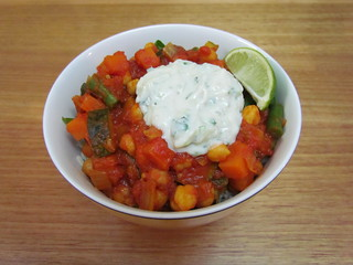 Zucchini Chickpea Tomato Curry; Cucumber Mint Raita