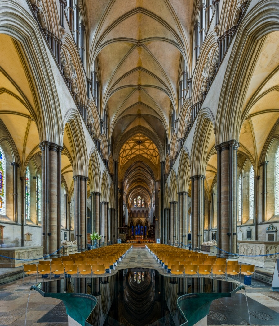 Salisbury Cathedral - The nave looking east from the font. Credit: David Iliff