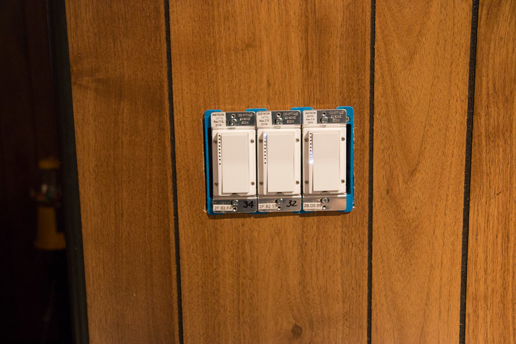 Three new switches for our lighting, installed by the electricians