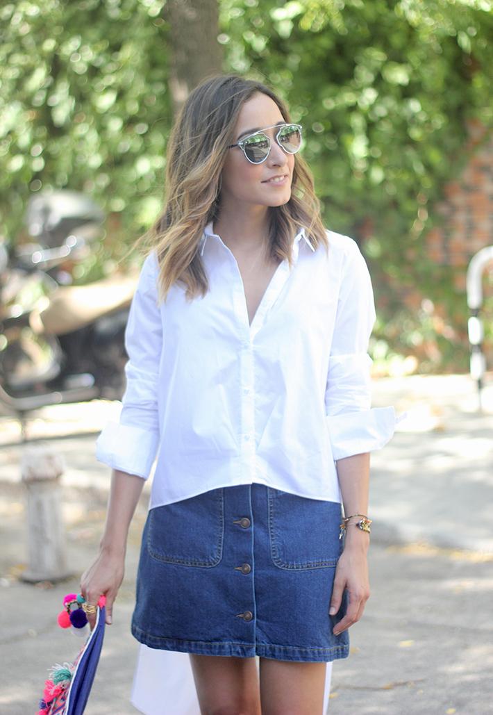 Long Shirt With Denim Skirt Summer Outfit 16