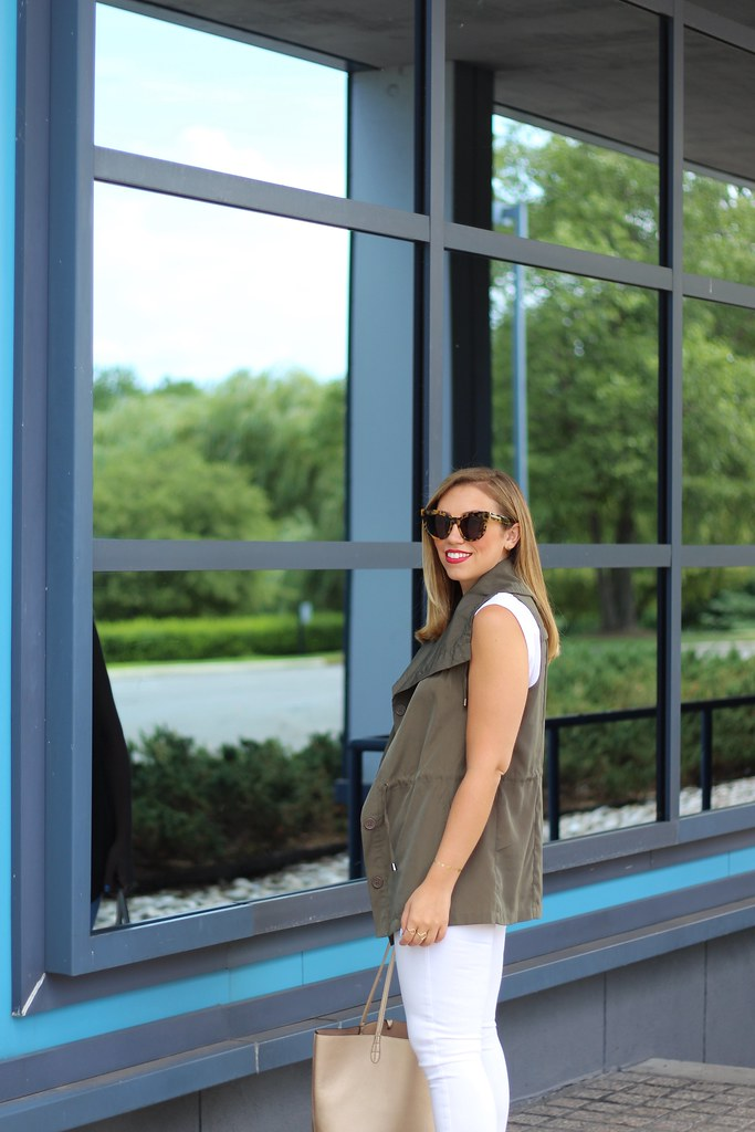 White Jeans   Olive Green Vest   Fall Fashion