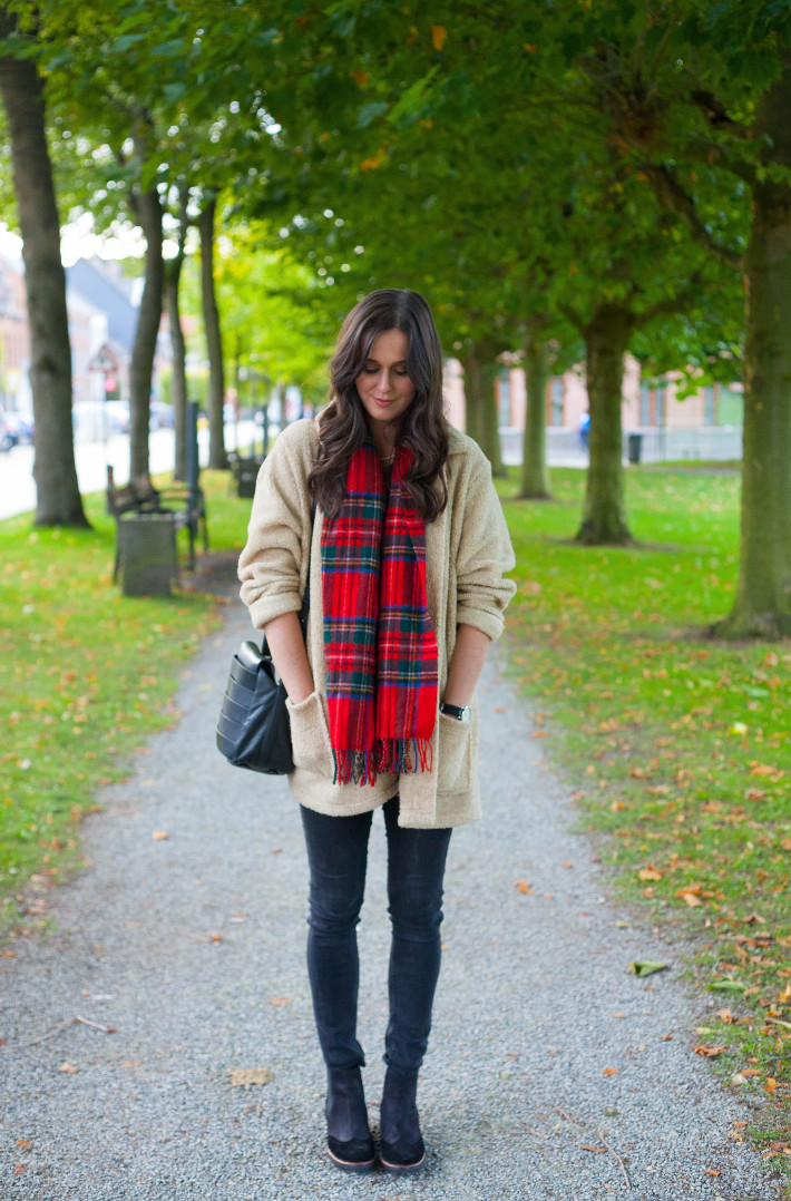 Outfit: bundled up in teddy coat and plaid scarf