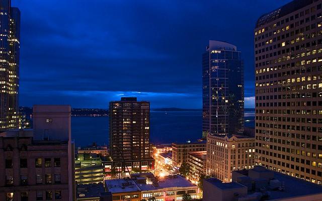 Seattle waterfront night lights