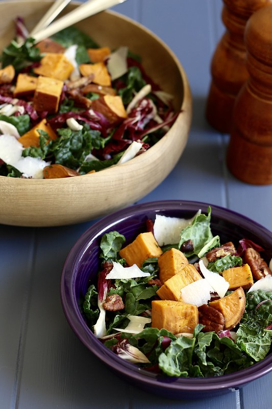 Kale Salad with Sweet Potatoes and Pomegranate Vinaigrette