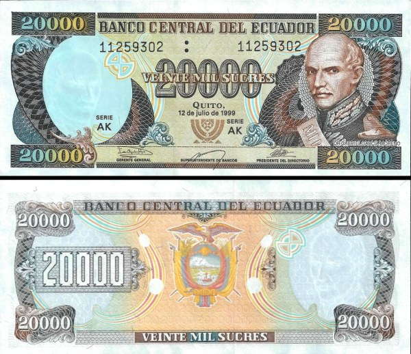 20 000 Sucres Ekvádor 1995-1999