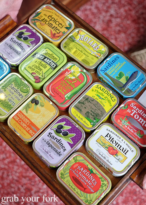 Tinned sardines collection at Continental Deli and Bistro, Newtown Sydney food blog review
