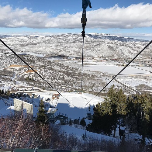 The view looking down Extreme Zip at Utah Olympic Park. Winter vacation. #utah #zipline #winter #vacation #snow