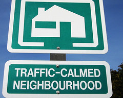 Traffic calmed neighbourhood sign