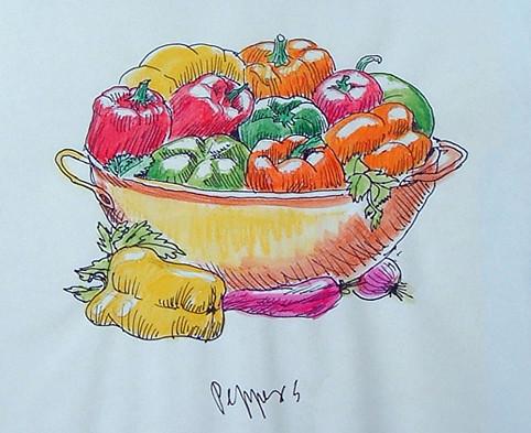 peppers // pimientos (morrones, ajíes, pimentones) - sketch by Frank.Hilzerman