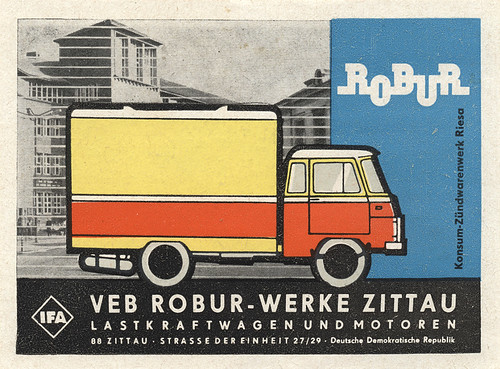 east german matchbox label